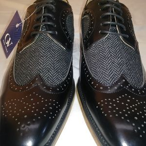 Gino Vitale Black wing tip brogue herringbone 10